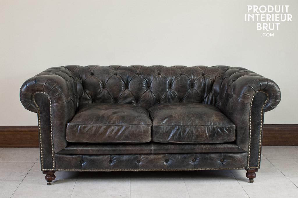Salon cuir et bois prix et produits avec le guide Canape chesterfield cuir vieilli
