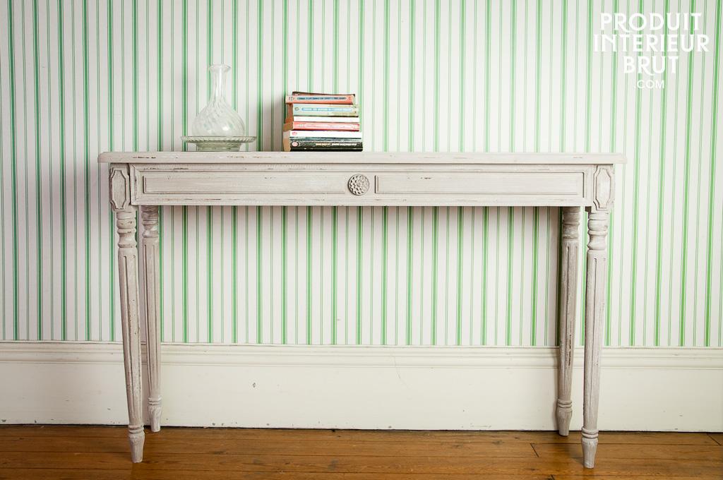 console en bois brut good affordable table console avec tagres sur roulettes en bois et mtal l. Black Bedroom Furniture Sets. Home Design Ideas