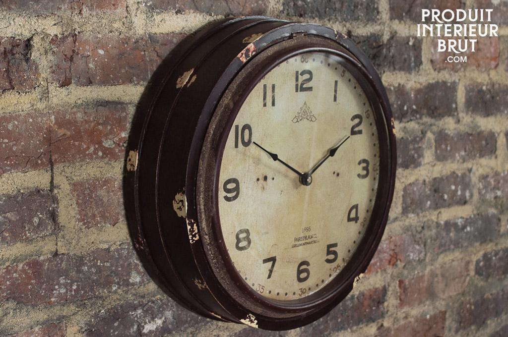horloge wood factory horloge d 39 atelier en bois peint et vitre en verre. Black Bedroom Furniture Sets. Home Design Ideas