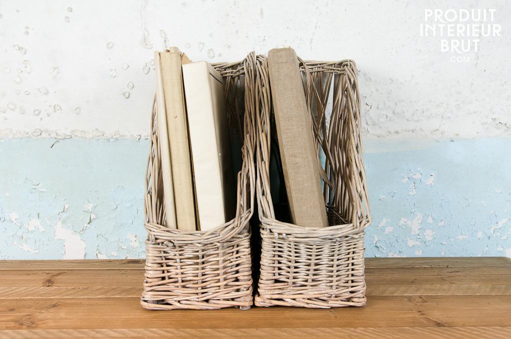 Paire de range-documents Chloé - Le charme de l'osier blanchi façon rétro