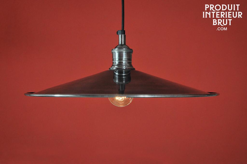 suspension disque en laiton argent lampe retro un lustre grand angle pour diffuser la lumi re. Black Bedroom Furniture Sets. Home Design Ideas