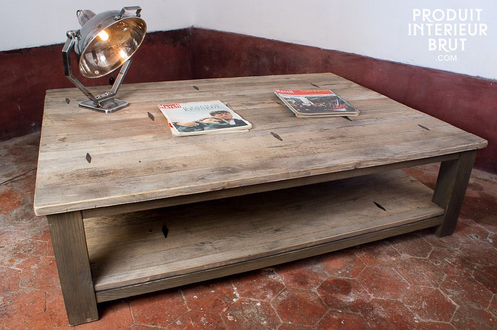 Table basse a losanges metalliques - Grande table de salon en bois ...