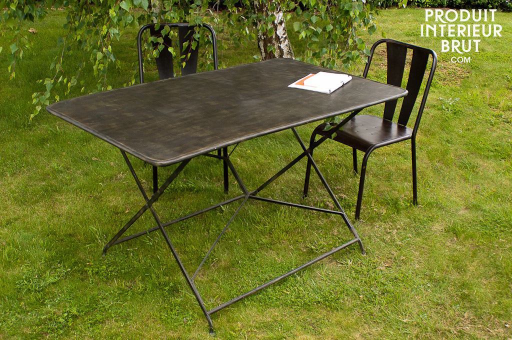Table de jardin compi gne table pliante 100 m tal l g rement patin e - Table de salon pliante ...