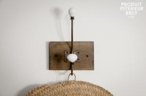 Athezza : Patère céramique double-crochet