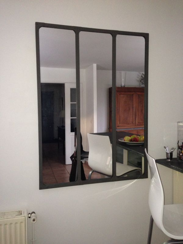 Miroir mural triptyque d co loft industrielle pib for Imitation verriere atelier