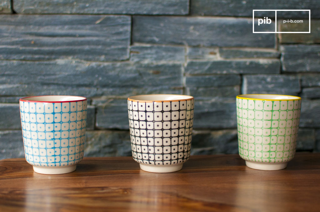 3 tasses caf br ni motif scandinave chic pib. Black Bedroom Furniture Sets. Home Design Ideas