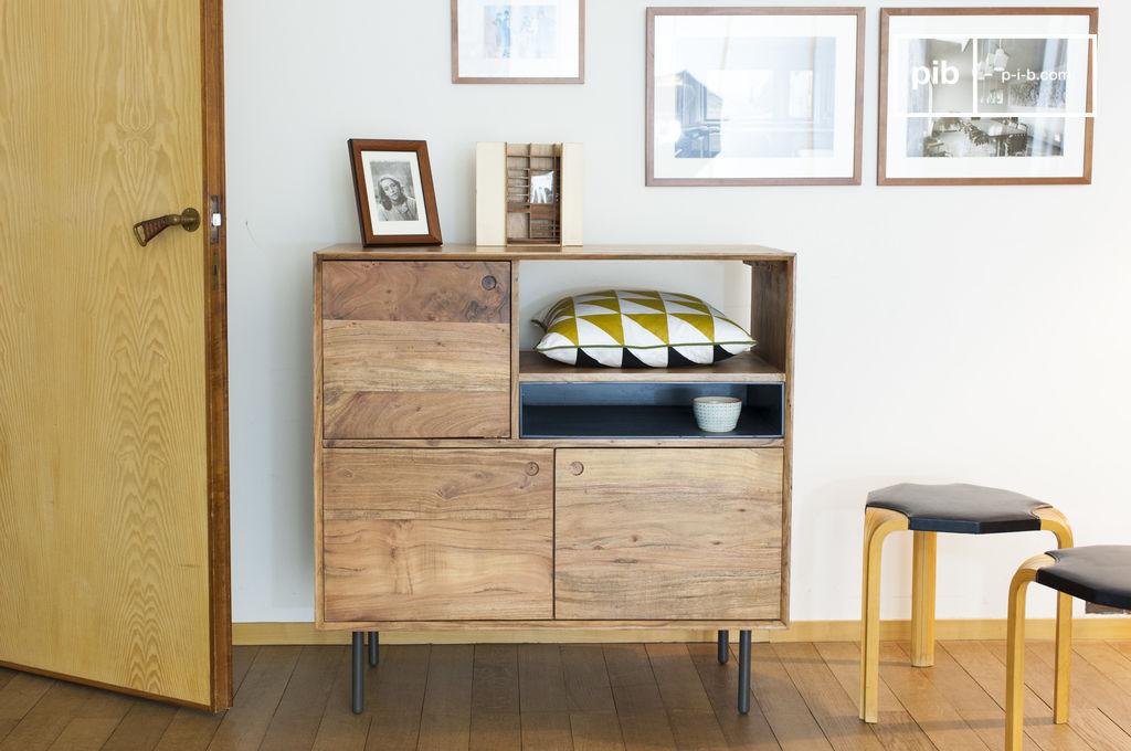 Buffet haut en bois bascole esprit vintage pib for Buffet haut moderne