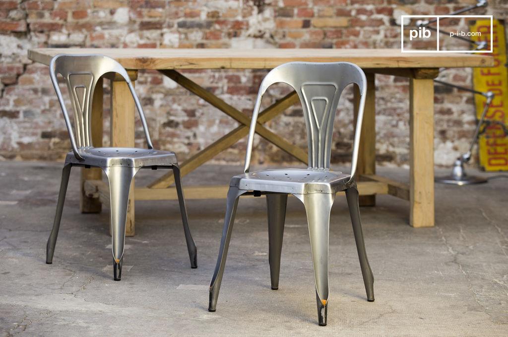 Chaise industrielle multipl 39 s finition acier bross e - Chaise style industrielle ...