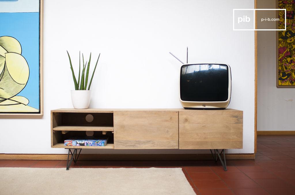 meuble tv en bois zurich bois clair et esprit r tro pib. Black Bedroom Furniture Sets. Home Design Ideas