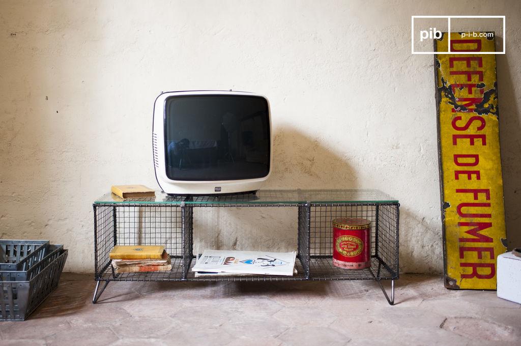 meuble tv ontario m tal et verre pib. Black Bedroom Furniture Sets. Home Design Ideas