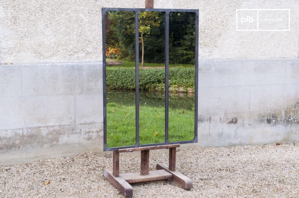 miroir mural triptyque d co loft industrielle pib. Black Bedroom Furniture Sets. Home Design Ideas
