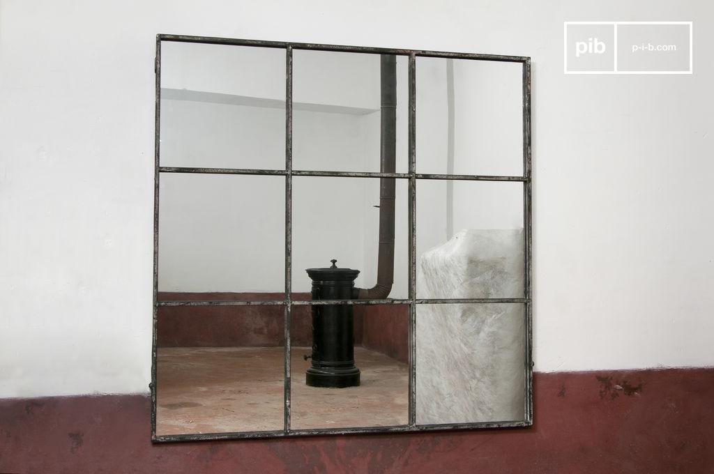 miroir industriel carr 9 sections m tal gris patin pib. Black Bedroom Furniture Sets. Home Design Ideas