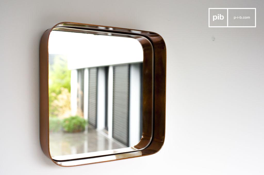 Miroir lena carr cuivre et angles courb s pib for Miroir carre