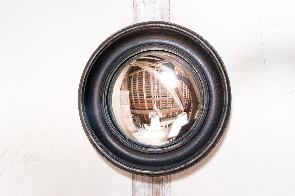 Miroir magellan un petit miroir oeil de boeuf en bois et for Miroir oeil de boeuf