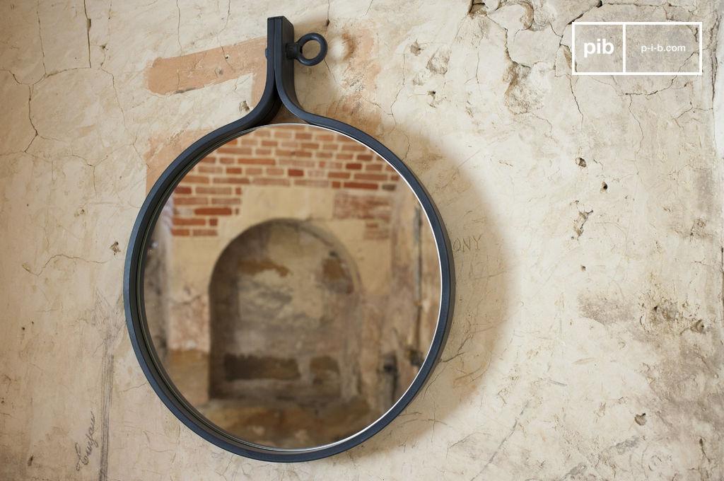 Miroir mural matka rondeur et acier verni pib for Miroir mural soldes