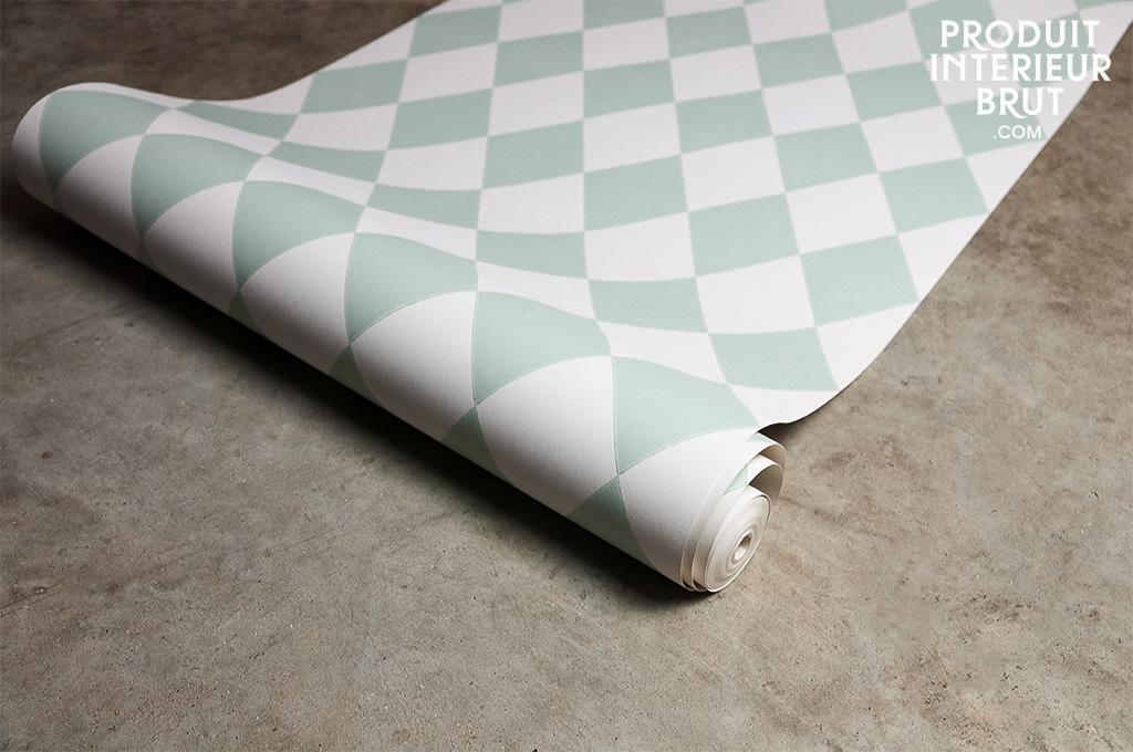 Papier peint mintt un motif losange apaisant et pib - Papier peint losange ...