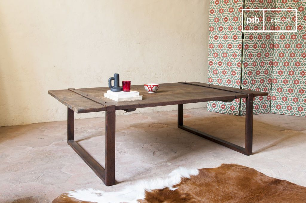 table basse domancy plateau massif en bois ancien pib. Black Bedroom Furniture Sets. Home Design Ideas