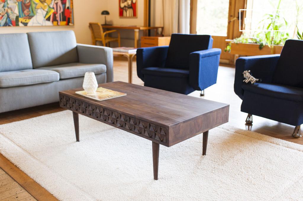 table basse en bois balkis reliefs g om triques pib. Black Bedroom Furniture Sets. Home Design Ideas