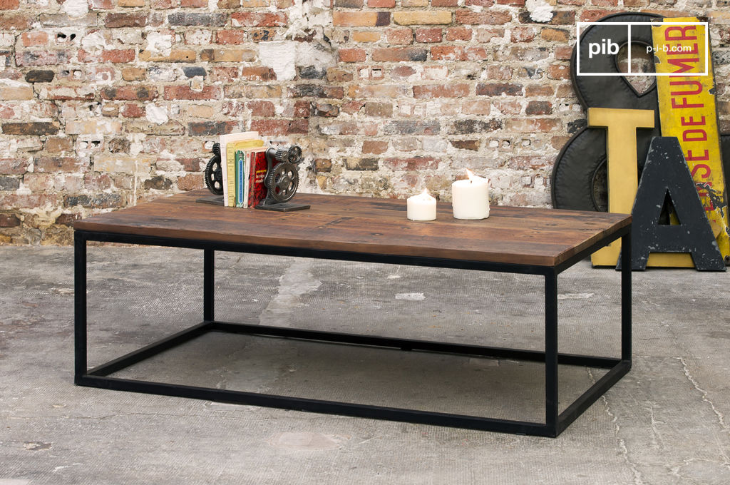 Table basse en bois new soho bois massif et ancien pib for Table basse bois ancien