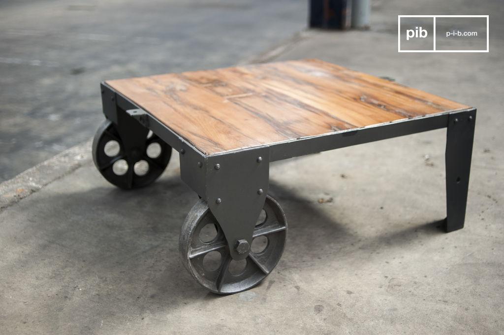table basse vintage railway roues en fonte pib. Black Bedroom Furniture Sets. Home Design Ideas