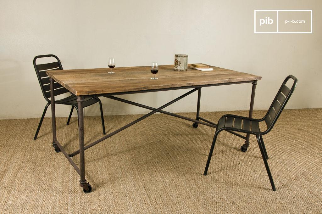 table linday table manger en bois et en m tal pib. Black Bedroom Furniture Sets. Home Design Ideas