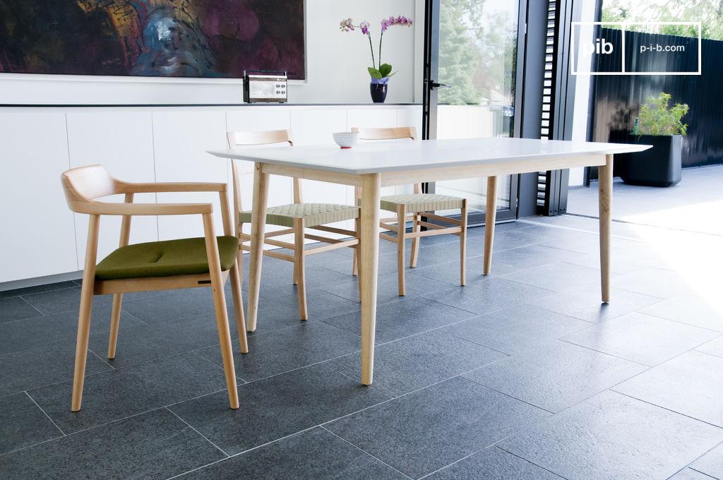 Table en bois fjord magnifique plateau blanc mat pib - Tafel bois blanc vieilli ...