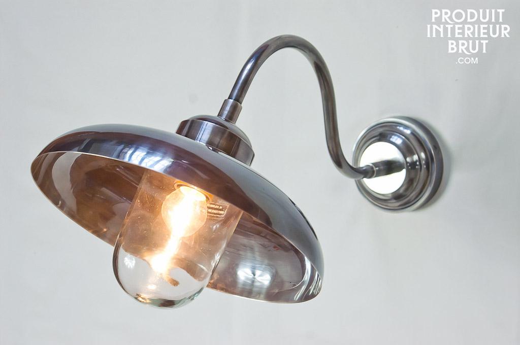 applique tanche col de cygne grande lampe en laiton argent pour l 39 int rieur ou l 39 ext rieur. Black Bedroom Furniture Sets. Home Design Ideas