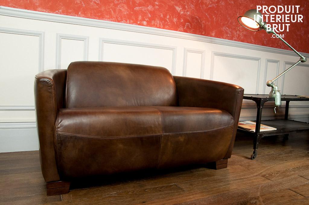 canap club red baron canap style aviateur en cuir pleine fleur. Black Bedroom Furniture Sets. Home Design Ideas