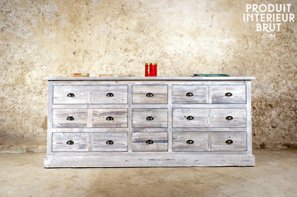 Grand comptoir d 39 apothicaire retro deco r solument - Peindre meuble effet vieilli ...