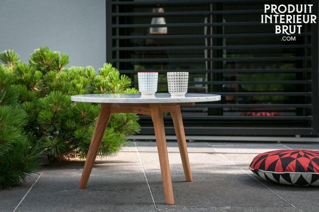 Table basse bri t design scandinave marbre lumineux et for Table basse scandinave marbre