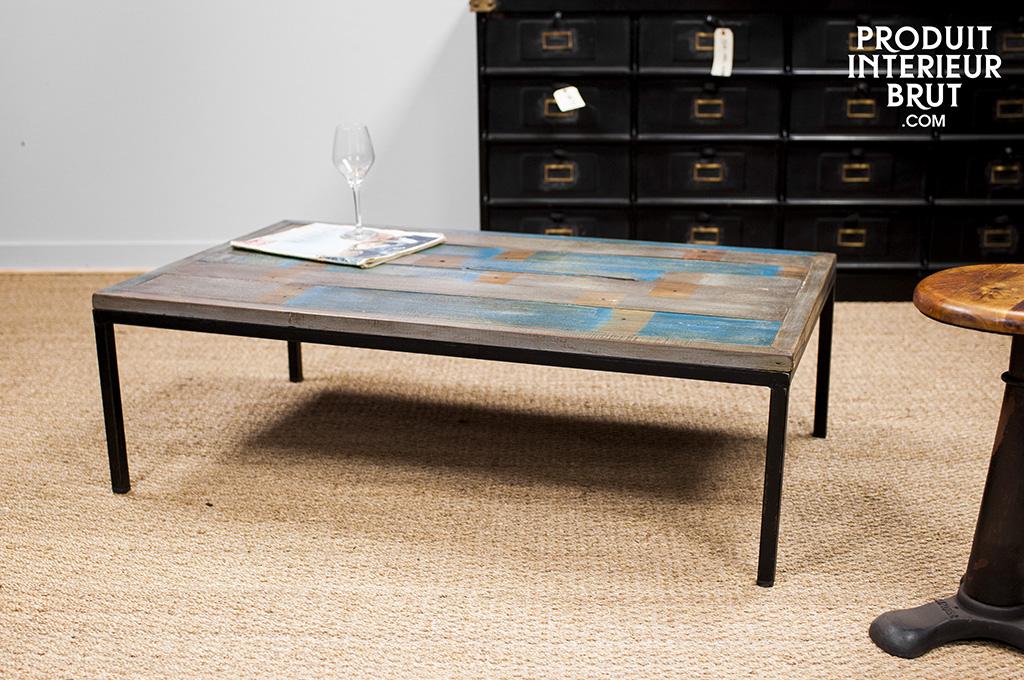 table basse moriz pi tement en m tal et plateau ancien patin. Black Bedroom Furniture Sets. Home Design Ideas