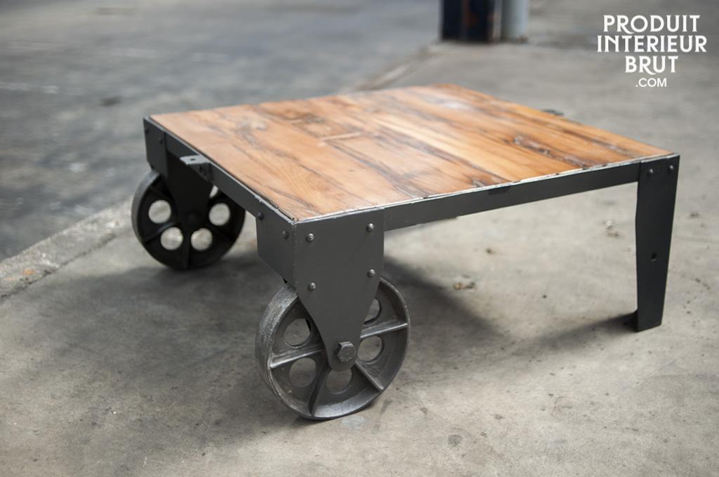 Table basse vintage railway table de salon au design industriel - Table basse vintage industriel ...