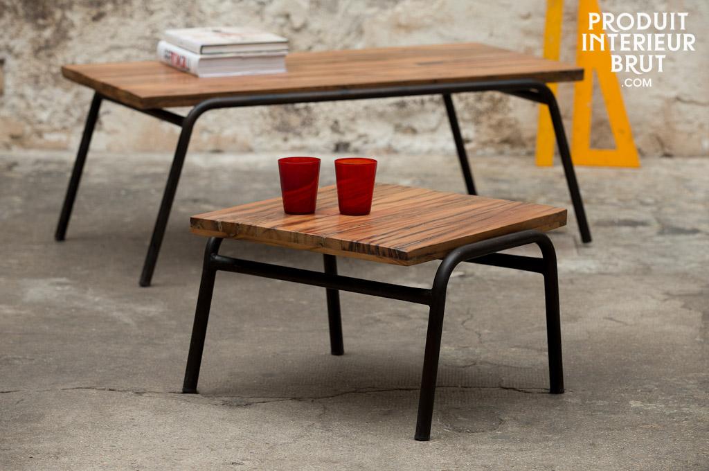 table d 39 appoint regular acier et bois massif sur une ligne sobre atemporelle. Black Bedroom Furniture Sets. Home Design Ideas