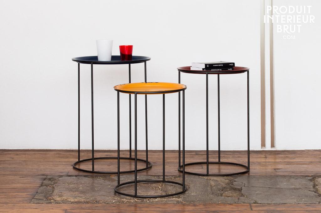table gigogne tricolore deco loft conception 100 m tal haute en couleur. Black Bedroom Furniture Sets. Home Design Ideas