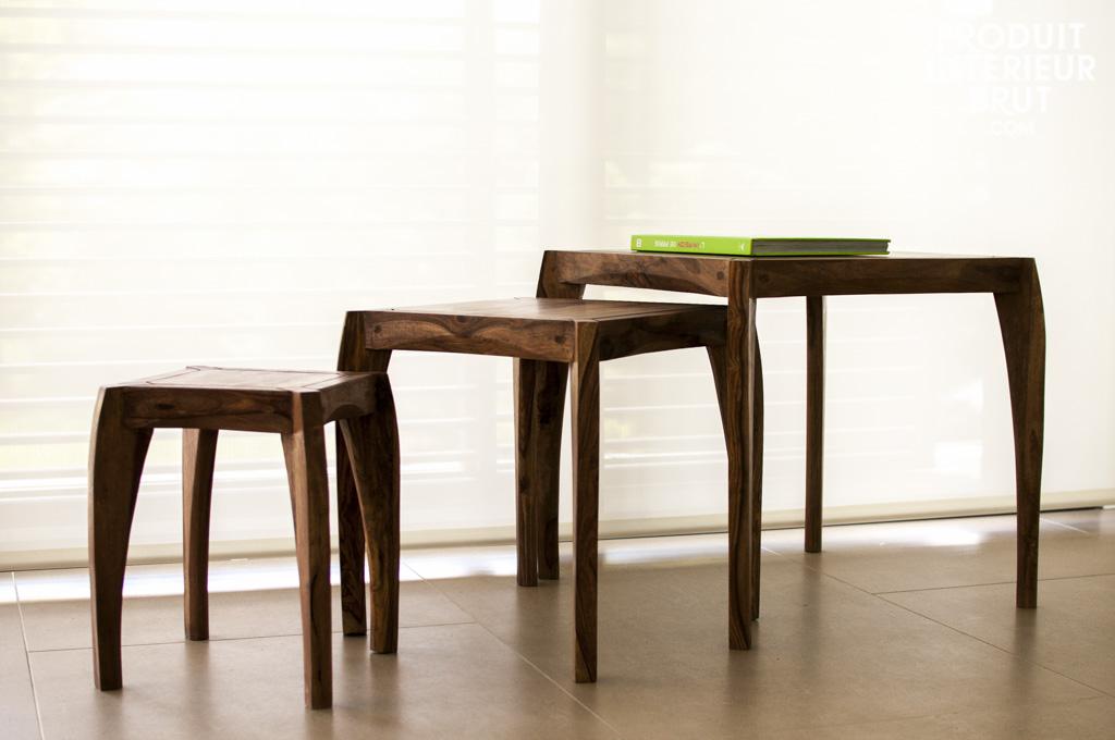 Trio de tables luna le galbe soign du mobilier nordique r tro - Table style nordique ...