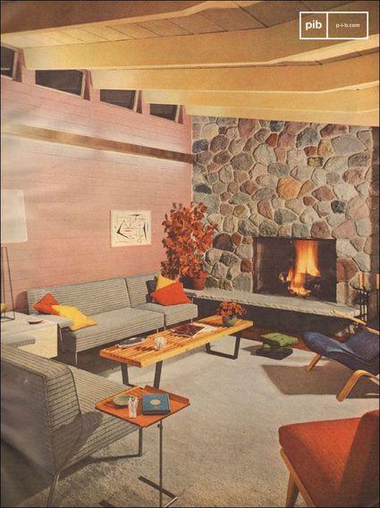 1953 Salon moderne avec cheminée en pierre - balayage de Better Homes and Gardens