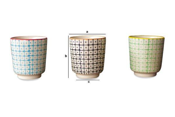 Dimensions du produit 3 tasses à café Brüni