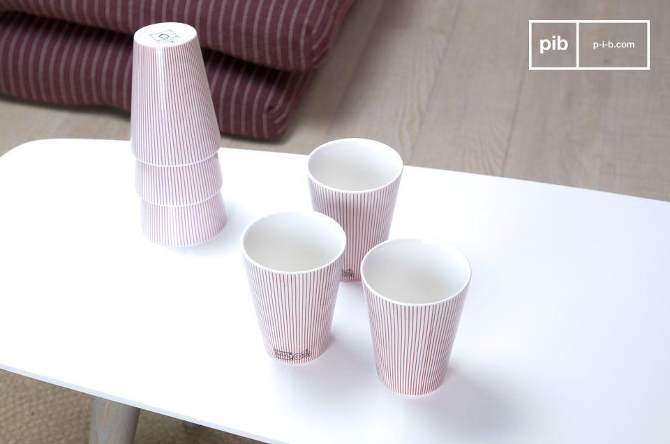 Profitez de ce jeu de 6 gobelets en porcelaine au style élégant et épuré pour apporter à votre