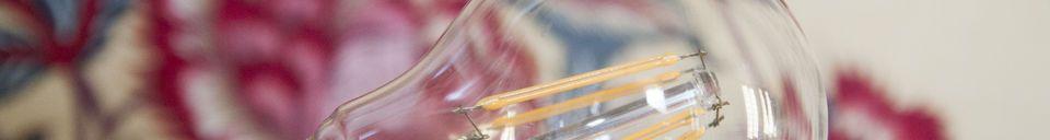 Mise en avant matière Ampoule Led 6cm façon ancien filament