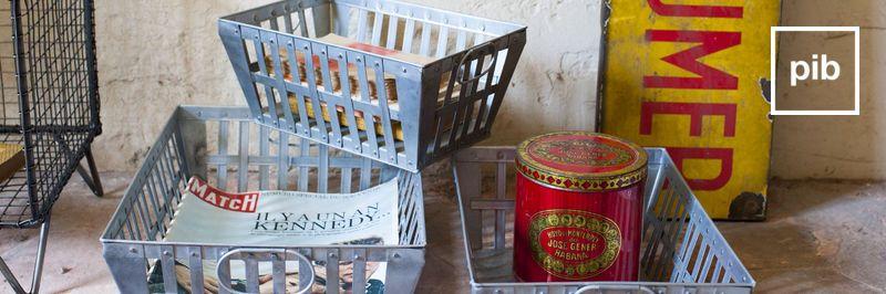 Ancienne collection de boite métallique & paniers industriels