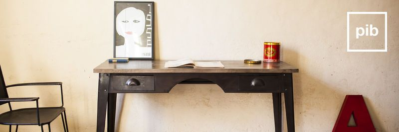 Ancienne collection de bureau vintage de style industriel
