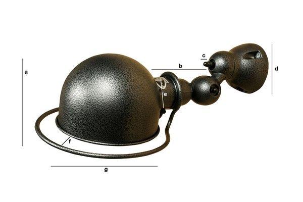 Dimensions du produit Applique Jieldé Loft martelée