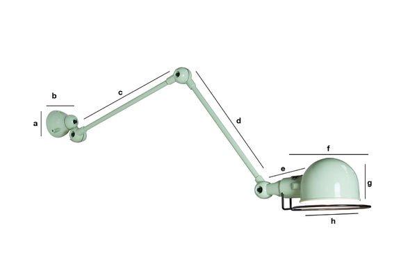 Dimensions du produit Applique Jieldé Signal vert d'eau