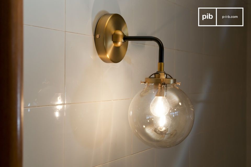 Applique murale art déco dorée halsa et globe en verre pib belgique