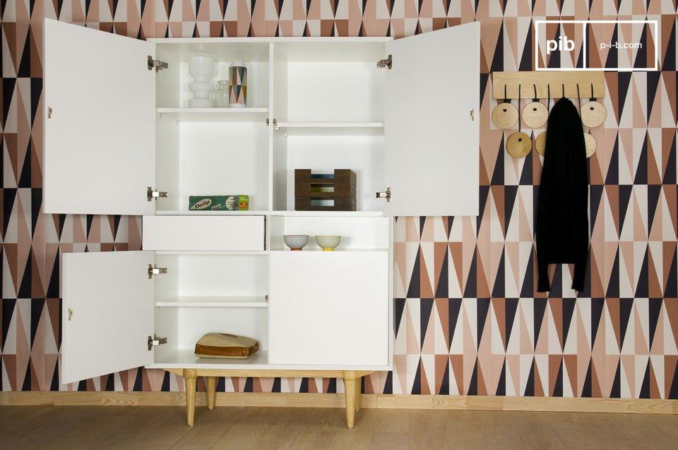 Un meuble de rangement lumineux, dans un esprit scandinave délicieusement rétro