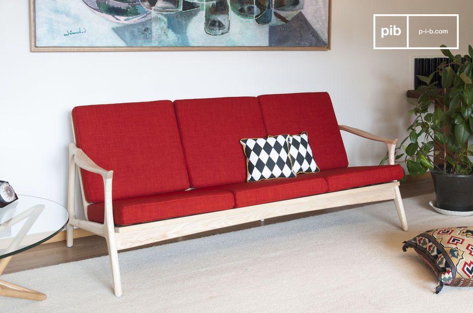L'élégance colorée d'une grande banquette scandinave bois et tissu