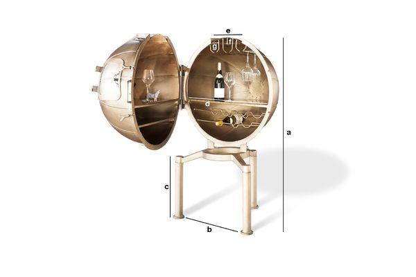 Dimensions du produit Bar globe Jules Vernes