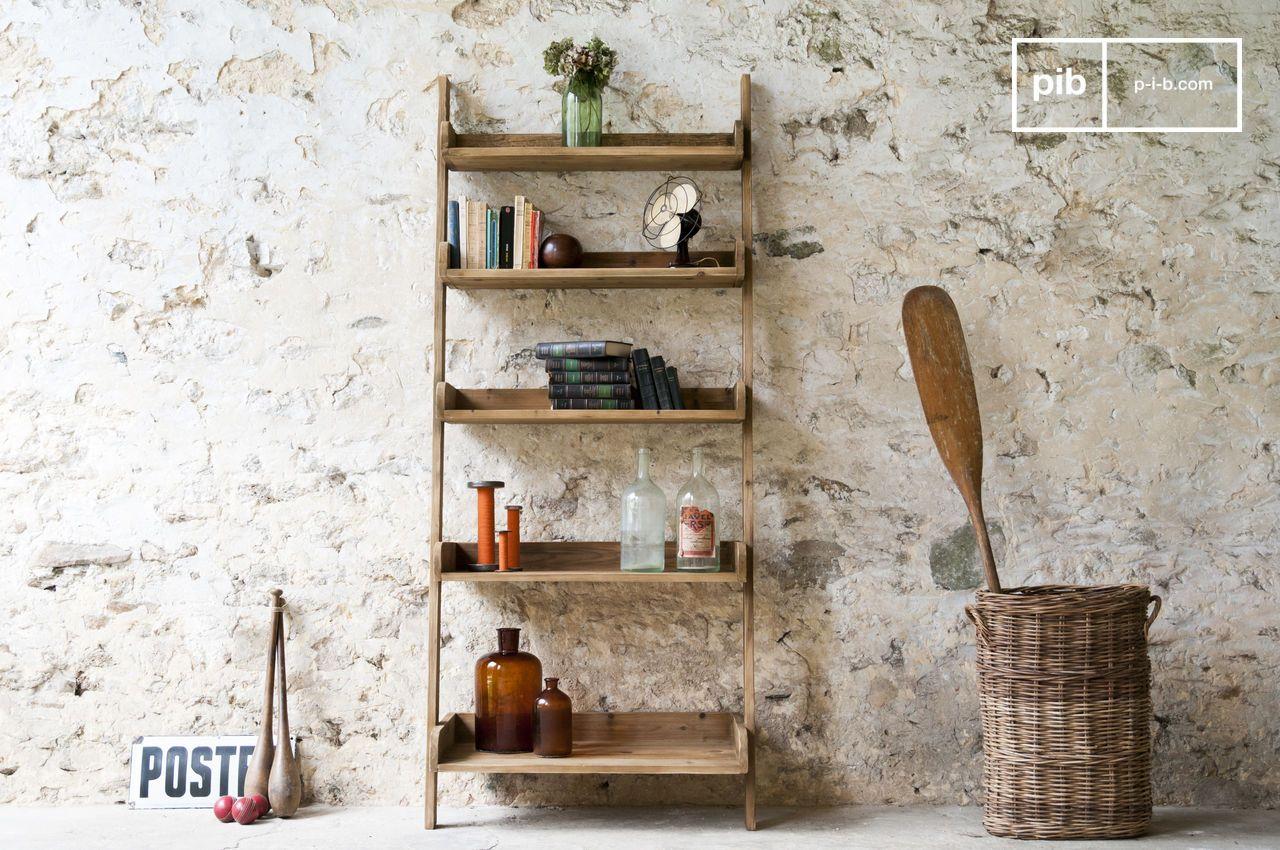 Deco Avec Une Echelle En Bois bibliothèque en bois grande echelle