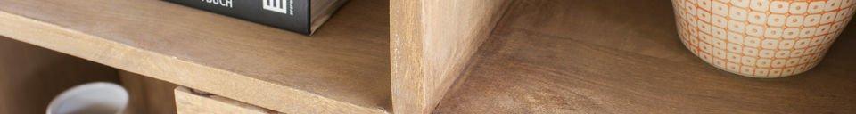 Mise en avant matière Bibliothèque en bois Messinki