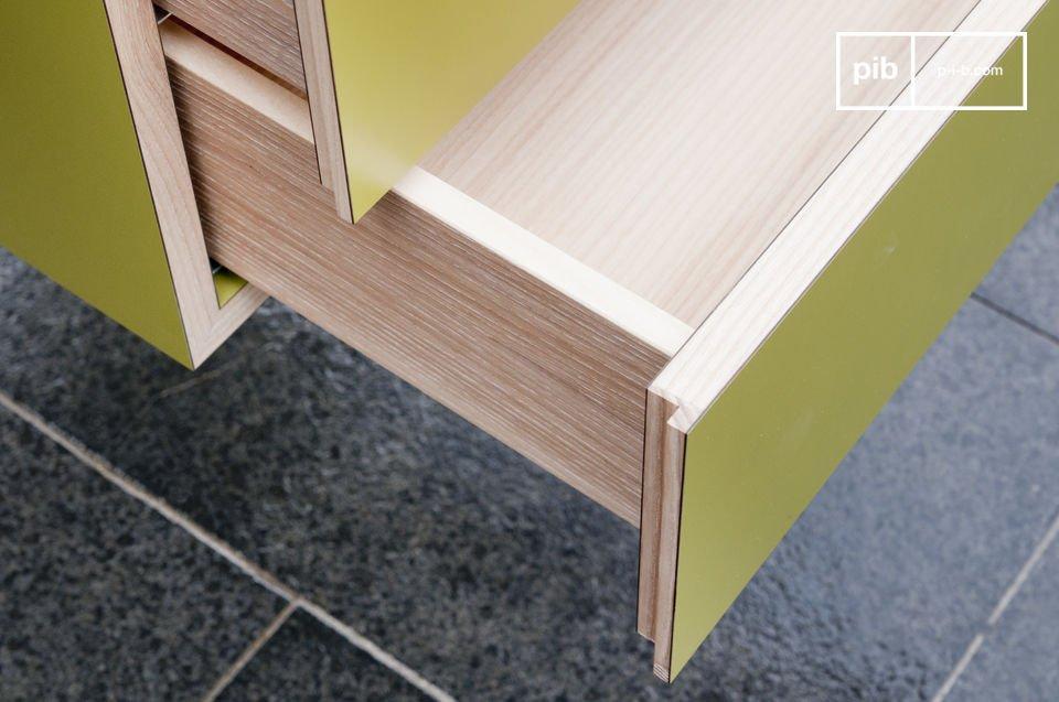 Un bureau scandinave aux lignes droites et élégantes, pratique avec ses 2 tiroirs de rangement